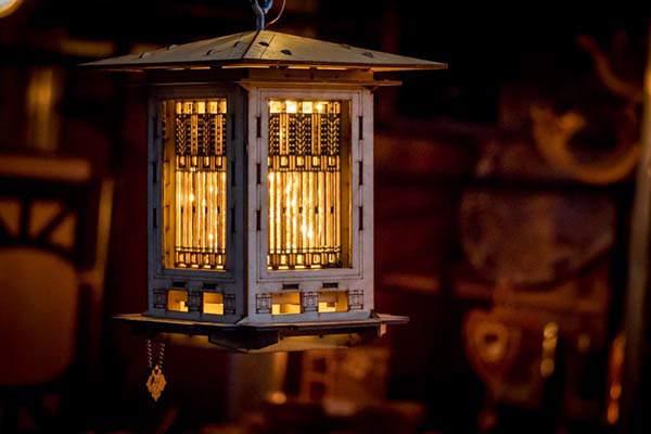 Handmade Prairie Style Wooden Bird Feeder and LED Lantern