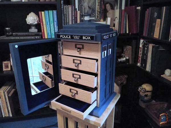 Handmade Tardis Wooden Jewelry Cabinet