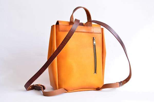 Handmade Woman Mini Leather Backpack