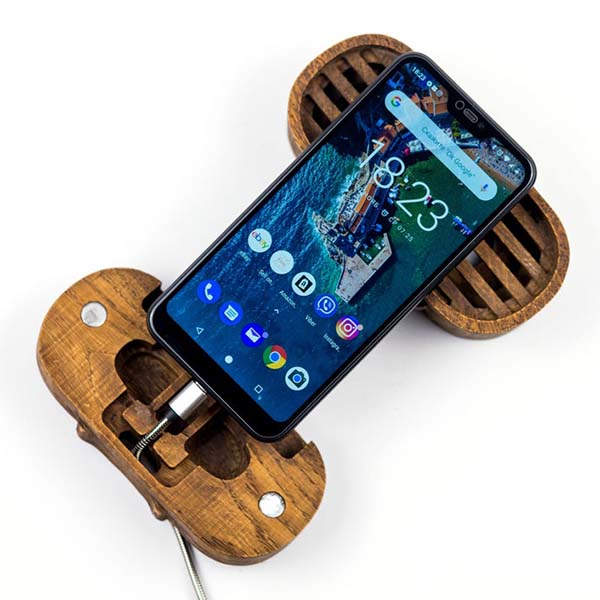 Handmade Wooden Phone Dock with Sound Amplifier