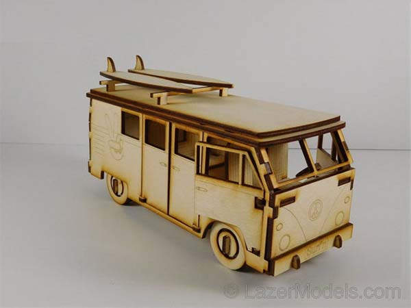 Laser Cut VW Camper Van Wooden Model Kit