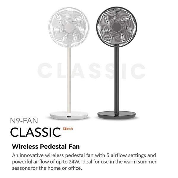 Lumena Wireless Oscillating Pedestal Fan with Built-in Timer