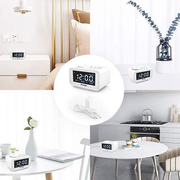 Reacher Dual Alarm Clock with FM Radio, Sleep Timer, USB Ports and More