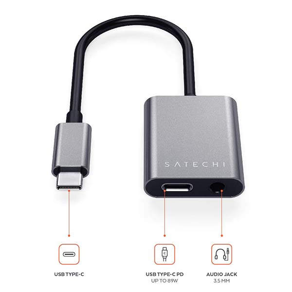 Satechi Aluminum USB-C Headphone Adapter with Power Delivery