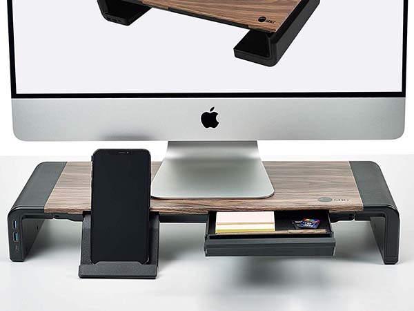 SIIG Adjustable Monitor Stand with USB-C Hub and Phone Stand