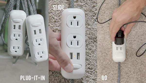 SlideWire Slidable Power Strip with Two USB 3.0 Ports