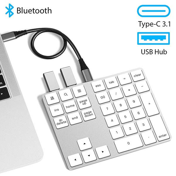 The Aluminum Bluetooth Numeric Keypad with USB Hub