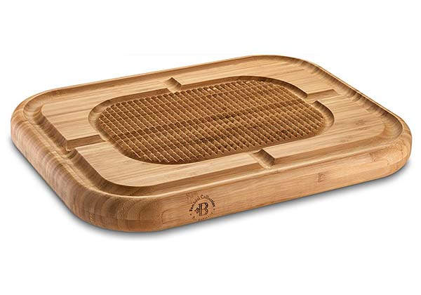 The Bamboo Wood Cutting Board with Juice Grooves and Spikes