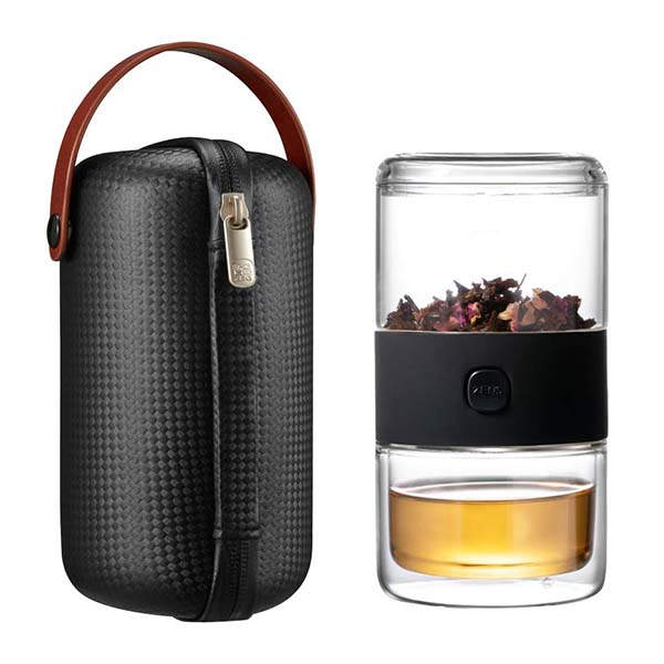 ZENS Travel Teapot with Tea Maker and Double-Walled Teacup