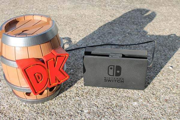 3D Printed Donkey Kong Barrel Nintendo Switch Dock