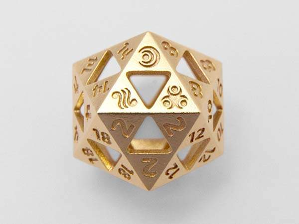 3D Printed Metal D20 Dice Inspired by The Legend of Zelda