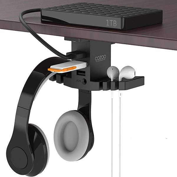 Cozoo Under Desk Headphone Hanger with USB Hub