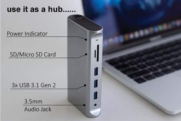 FinalHub Thunderbolt 3 USB-C Docking Station with WiFi Router and Power Bank