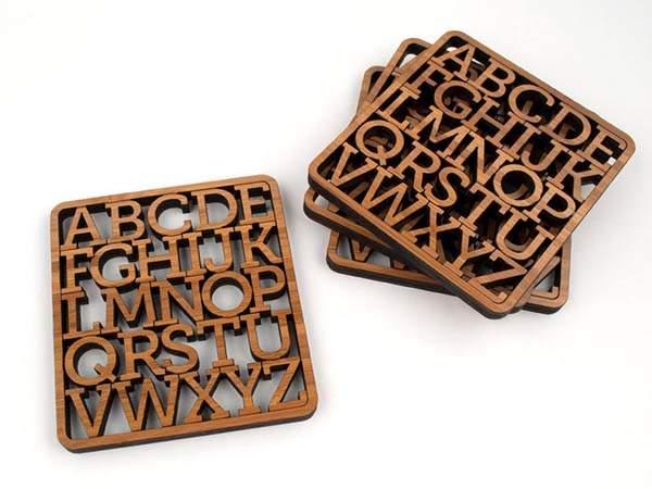 Handmade Alphabet Wooden Drink Coaster Set