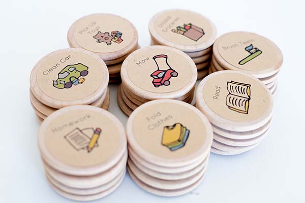 Handmade Round Wooden Magnetic Chore Charts
