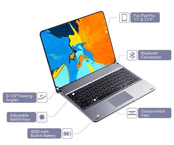 Libra Backlit Bluetooth Keyboard with Trackpad Turns iPad Pro into MacBook
