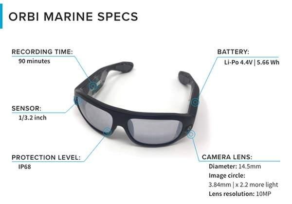 ORBI Marine Sunglasses with 360-Degree Waterproof  Camera