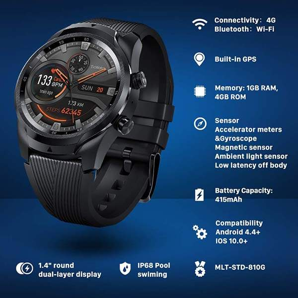 Ticwatch Pro 4G/LTE Smartwatch with Verizon Cellular Connectivity