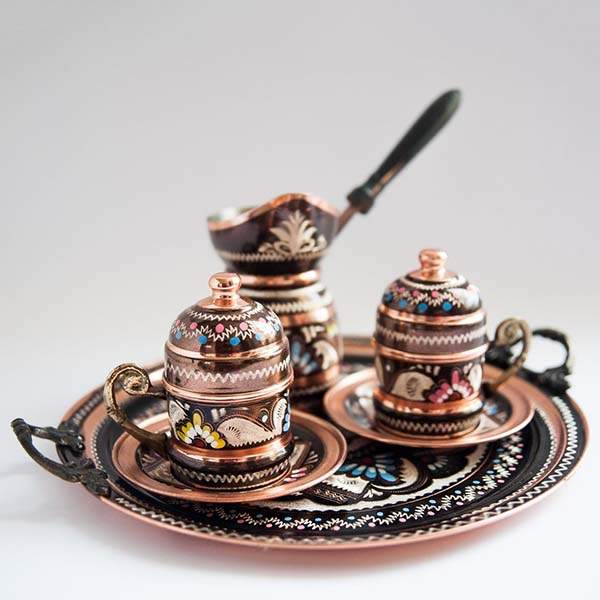 Hand-Painted Turkish Vintage Copper Coffee Set