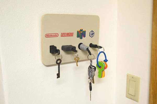 Handmade Nintendo Plug Wall Mounted Key Chain Holder