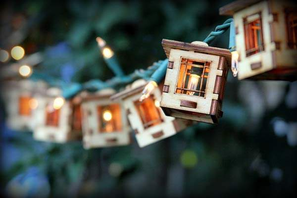 Handmade Patio Wooden String LED Lights