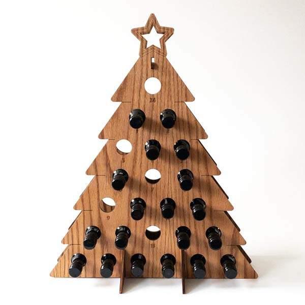 Handmade Spirits Tree Holiday Wooden Wine Rack with Advent Calendar