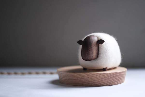 Handmade Wood and Felt Sheep LED Night Light