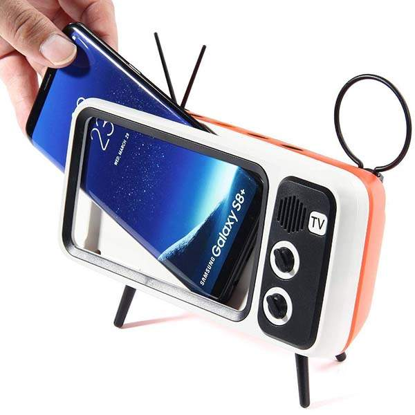 KOBWA Retro TV Portable Bluetooth Speaker with Phone Holder