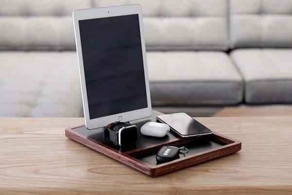 NytStnd Quad Tray Handmade Wireless Charging Station with Desk Organizer