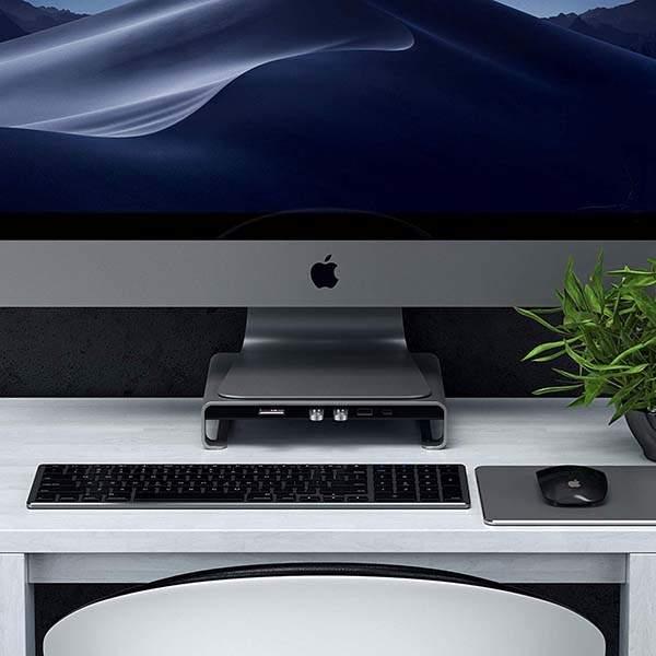 Satechi Aluminum Monitor Stand with USB-C Hub