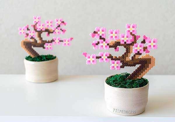 The Handmade Pixelated Bonsai Trees Built with Perler Beads