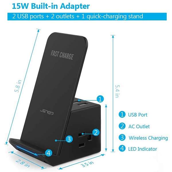 The Wireless Charging Stand Doubles as Desktop Power Strip with Two USB Ports