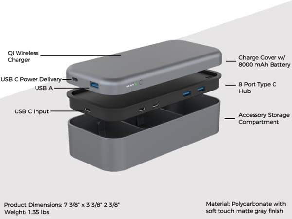 BentoStack PowerHub with USB-C Hub, Wireless Charging Dock and Storage