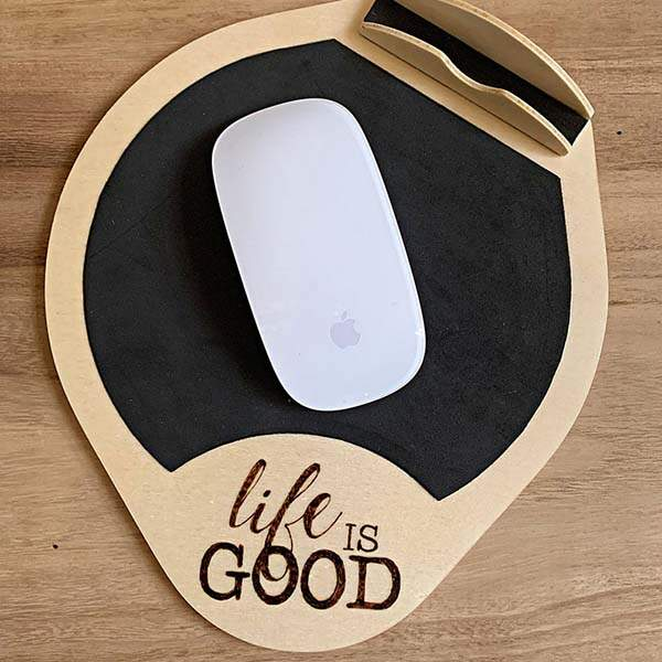 Handmade Engraving Wooden Mouse Pad with Phone Holder