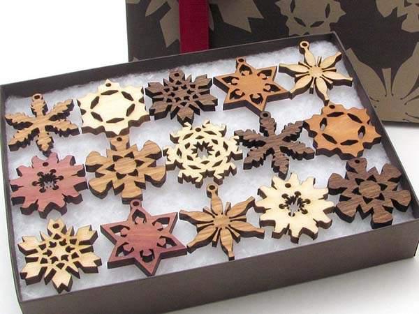 Handmade Mini Wooden Snowflake Ornament Set