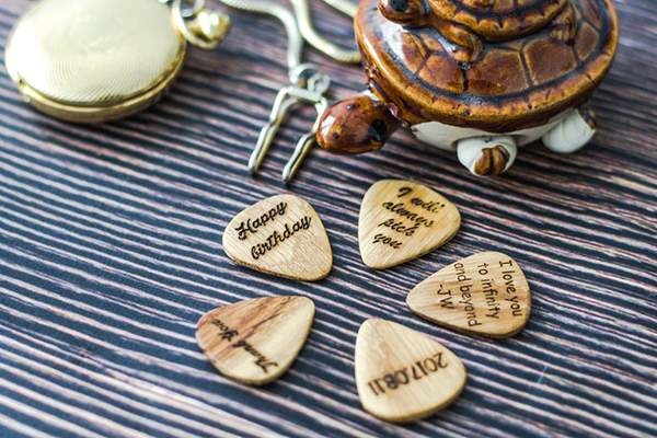 Handmade Personalized Wooden Guitar Pick Box with 3 Picks
