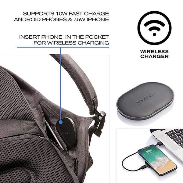 XD Design Bobby Tech Anti-Theft Backpack with Wireless Charging Pad, Solar Panel and USB/USB-C Port