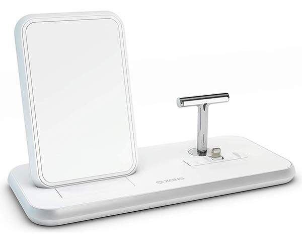 ZENS Stand+Dock Aluminum Wireless Charging Station with an Extra USB Port