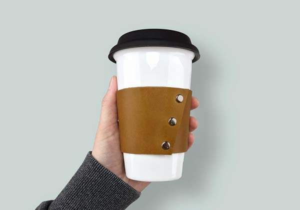 Handmade Personalized Reusable Leather Coffee Sleeve