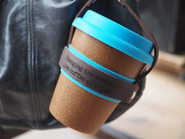 Reusable Coffee Cup with Handmade Personalized Leather Carrier
