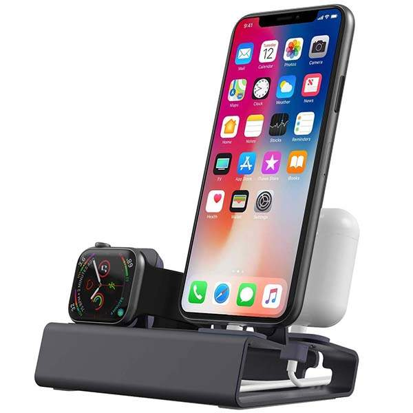 The Affordable 3-In-1 Aluminum Charging Station for Apple Watch, iPhone and AirPods