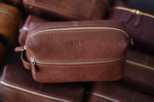 The Handmade Personalized Leather Dopp Kit