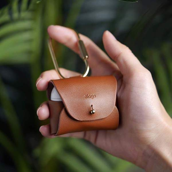 Elago AirPods Pro Leather Case with a Brass Ring