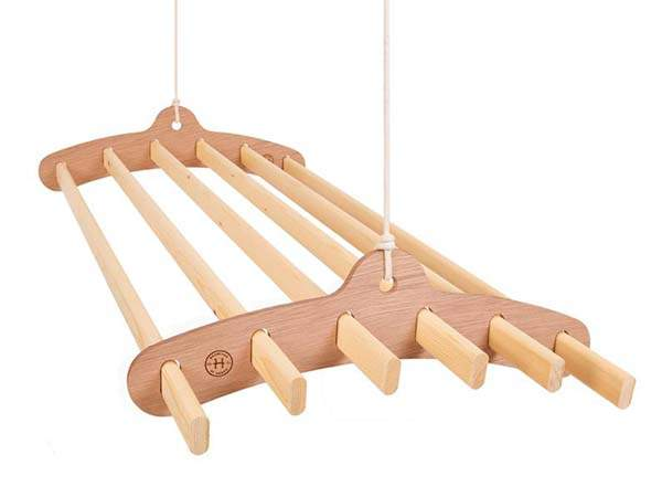 Handmade 6 Lath Compact Wooden Hanging Rack for Drying Clothes