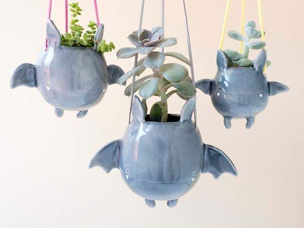 Handmade Flying Bat Hanging Plant Holder