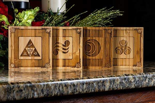 Handmade Legend of Zelda Ocarina of Time Wooden Coaster Set