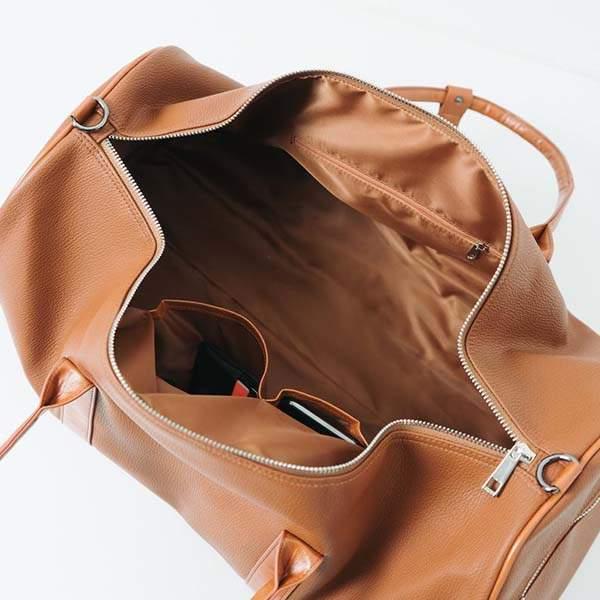 Handmade Minimalist Weekender Holdall Leather Duffle Bag
