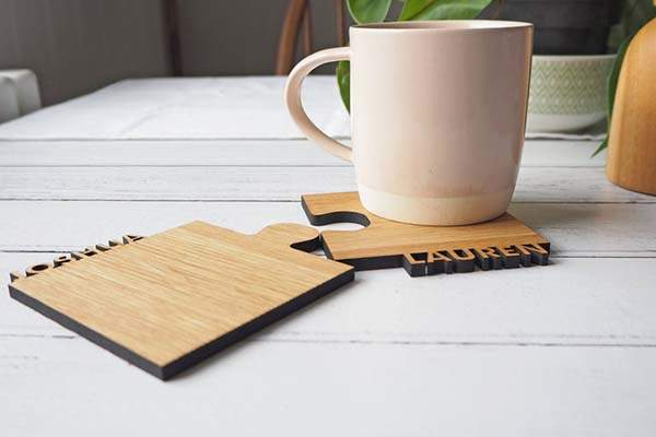 Handmade Personalized Puzzle-Style Wooden Drink Coasters