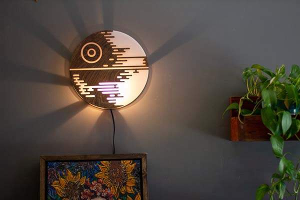 Handmade Star Wars Death Star Wall Lamp