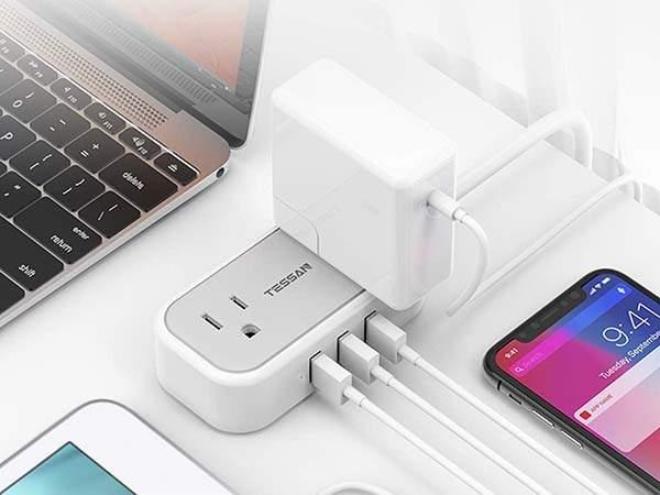 Tessan Travel Power Strip with 3 USB Ports